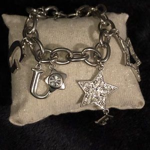 NEW-GUESS Charm Bracelet with crystals..Great Gift